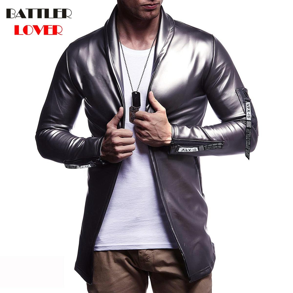 Luxury Brand Men Blazer Spring High Quality PU Leather Slim Fit Elastic Suit Hip Hop Mens Terno Masculino Blazers Men DJ Jacket