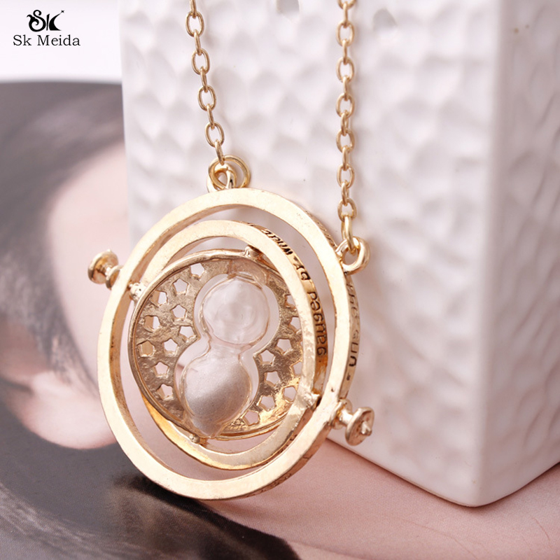 44mm 2017 Hot Selling Harry Potter Necklace Time Turner Necklace Hourglass Necklace Hermione Granger Rotating Spins ZB-22(China (Mainland))