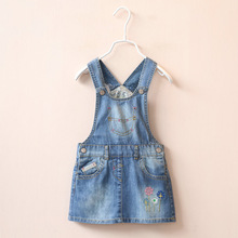 2016 girls strap dress with cat pattern and flower, lovely girl baby Denim dress