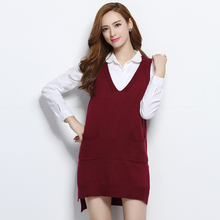 2017 Fashion casual women Cashmere sweater dress femme v-neck long sweater coat women's Knitwear Sleeveless vest wool dress