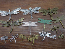 Mix 15pcs/30pcs Retro style alloy lovely Fantasy dragon Charm pendant Mix-dragonfly(China)