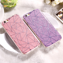 KISSCASE For iPhone 6 6S Plus Cover Case Glitter Powder Rhombus Soft TPU & Hard PC Mobile Phone Case For iPhone 7 Plus 6 6S Case(China)