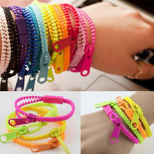 10pcs/lot 2015 New Zip Bracelet Wristband Dual & Single Color Metal Zipper Bracelet Fluorescent Neon Creative bracelet for women