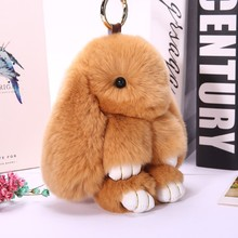 Hot Plush Rabbit Keychain On Bag For Girl  Fluffy Bunny Key Chain Natural Fur Hare Key Ring Accessorie For Bag Handbag Keychain