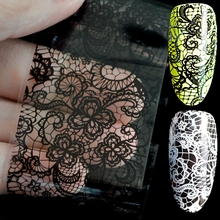 Lace Flower Pattern Nail Foil Decals Black & White Gel DIY 3D Sticker PolisH Nail Art Decoration Tool without Adhesive(China)