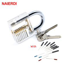 NAIERDI Transparent Visible Pick Cutaway Practice Padlock Lock With 12PCS Broken Key Removing Hooks Lock Kit Locksmith Tool Set