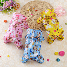 Summer Cute Monkey Cartoon Dog Raincoat Waterproof Dog Clothes For Outside Waterproof Pet Jumpsuit  4 Legs Pet Raincoat PY966