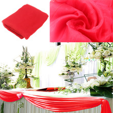 promotion price new design red organza 1.35*10m sheer Swag fabric curtain, organza Table skirt wedding decorations,high qulaity(China)