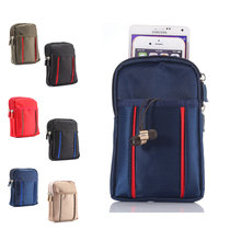 Multi-function Wallet Mobile Phone Bag Outdoor Phone Case for iPhone SE Multi Phone Model Hook Loop Belt Pouch 3 Pocket 2 Zipper