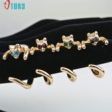 OTOKY Gussy Life Cute Gold Cat Shaped Ring With Rhinestone Eyes Adjustable and Resizeable Mar23(China)