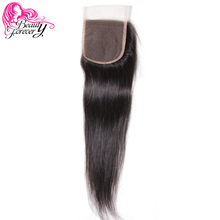 Beauty Forever Brazilian Straight Lace Closure Non-Remy Human Hair Closures 4*4 Free Part Medium Brown Swiss Lace 10-20 inch(China)
