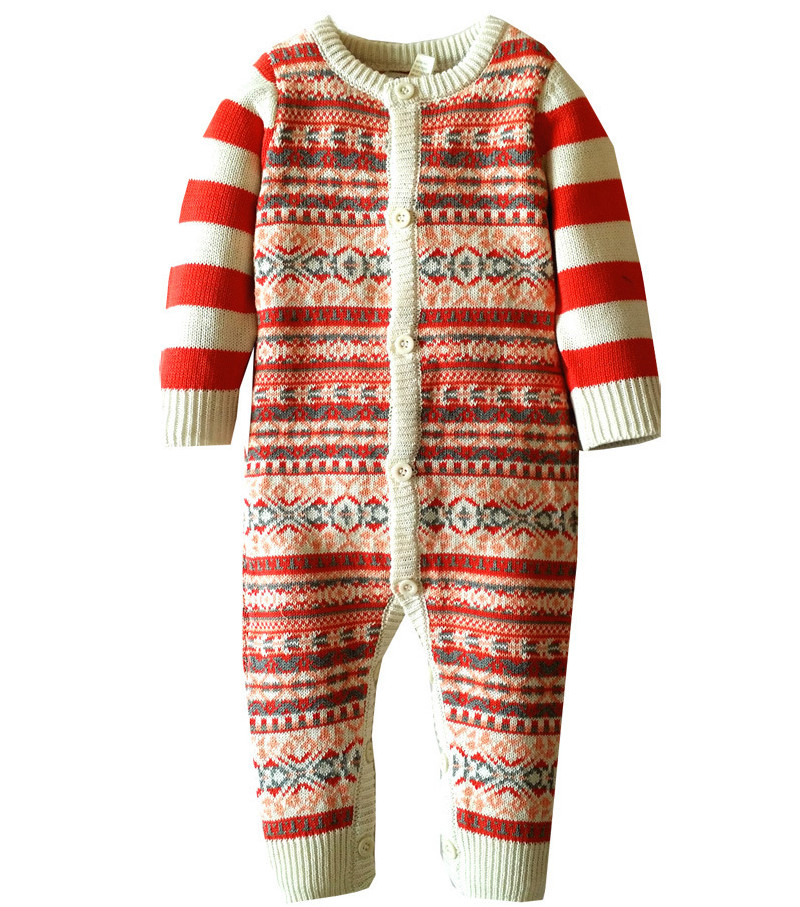 Baby Clothes Baby Boy Girl Romper Winter Baby Costume Christmas Jumpsuit Overalls for children Newborn Clothing Striped Sweater<br><br>Aliexpress