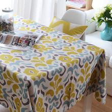 Wholesale Yellow Nordic Geometric Warm Color Cotton Linen Tablecloth Table Cloth Tea Table Cloth Home Decoration Cloth(China)