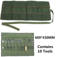 Army Green Japanese Bonsai Storage Package Roll Bag Garden Repair Tool Pliers Scissors Canvas Tool Set Case Storage Bags