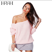 HYH HAOYIHUI Brand Fashion Women Pullover Sweaters Full Sleeve Solid Knitted Sweater Women Off Shoulder Design Sweaters Jumper(China)