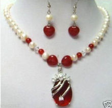 Charming! pearl Red Natural stone necklace earring SetAAA GP  Bridal wide watch wings queen JEWE (A0516) -Bride jewelry fr