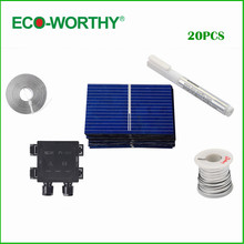 ECO-WORTHY 20PCS 39X26mm Polycrystalline Solar Cell Solar Cell Price Tabbing Bus&Flux Pen &J-box for DIY Poly Solar Panel(China)