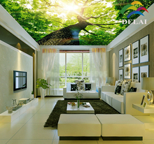 T-1611 Big Tree with huge trunk printing ceiling film sunlight through tree construction material for ceiling decoration(China)
