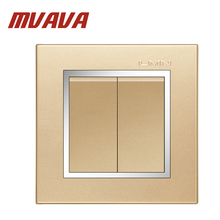 MVAVA 2 gang electrical wiring push button light wall switch 16A 110~250V, 220V Luxury champagne gold chromed frame PC panel