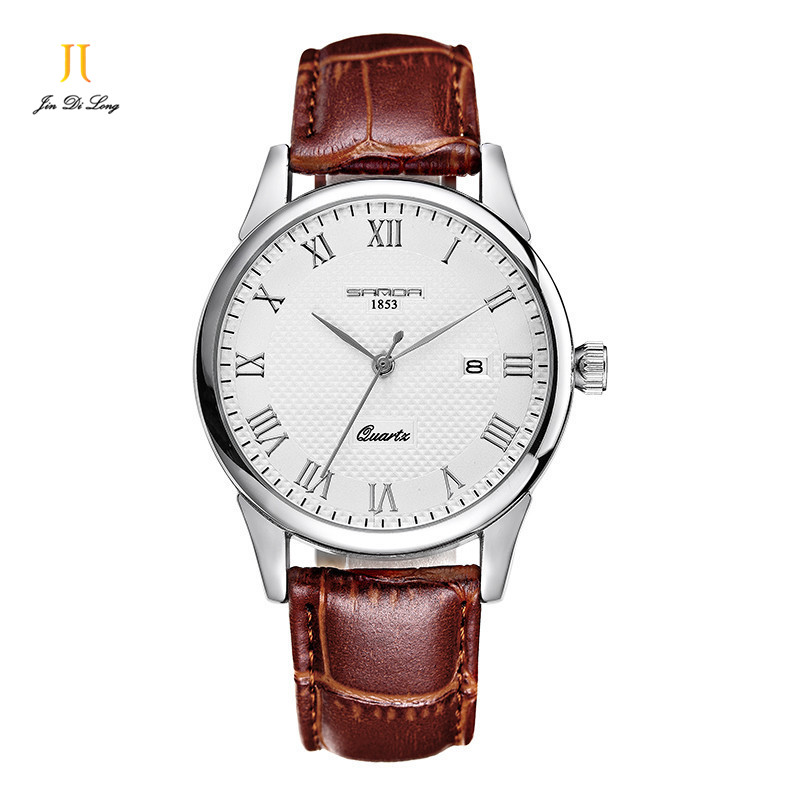 Brand Classic Fashion Quartz Watch Men Business Leather Strap Watch Rome Numeral Big Dial Clock Wristwatch Waterproof Calendar<br>