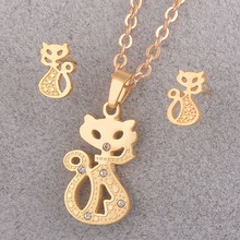 Stainless Steel Gold Cat Necklace Set Fashion Women New Style Animal Pendant with Earring Costume Jewelry