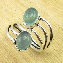 Authentic Apatite DESIGNER Ring Size US 4 ! Silver Plated Jewelry ONLINE STORE(China)