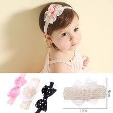 M MISM 2017 1 Set=3pcs Korean Floral Bow Tie Lace Chiffon Headband Newborn Hair Elastic Bands Wide Soft Band Hair Accessories