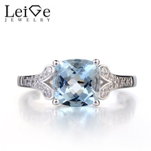 Leige Jewelry Natural Aquamarine 925 Sterling Silver Ring March Birthstone Gemstone Cushion Cut Engagement Ring for Women