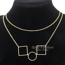 Geometry Gold Open Circle Square Multi Shape Double Chain Choker Maxi Necklace Jewelry