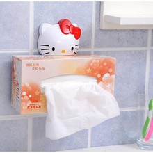 Kawaii Hello KITTY Home Bathroom Tissue Box Holder Napkin Box Holder KT Cat Papers BOX Hanging Pumping Napkin Suck Holder