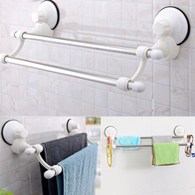 Mayitr Dual Layer Suction Towel Rack Stainless Steel Wall Mount Bathroom Towel Holder Rack Rail Shelf Bathroom Accessories