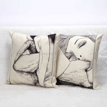 Creative Hot Fashion Square Adult Linen Cotton Furnishing Cushions Car Sofa Office Seat Back Pillow Home Decor Cushion Case Core