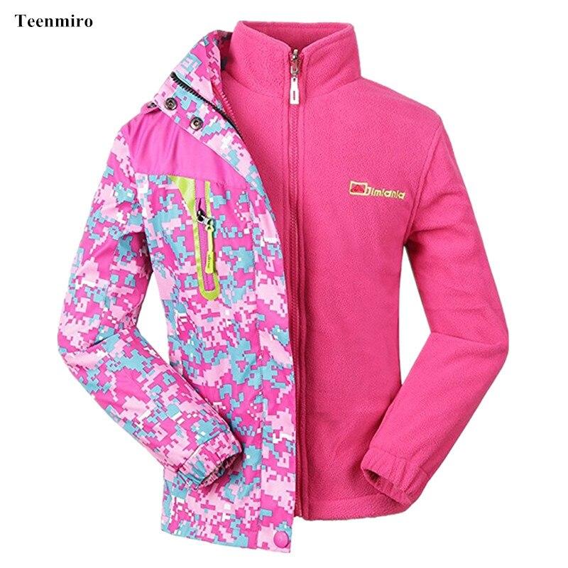 Autumn Winter 2pcs Girls Jacket Windbreaker Kids Rain Coat Children Sport Blazer With Fleece Liner  Waterproof Tops 5-15Y <br>
