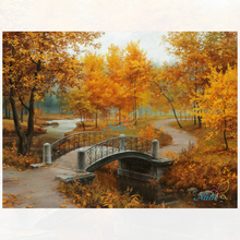 new full Diy diamond painting kit 3D cross stitch Square Diamond embroidery Autumn Scenic Brudge Diamond Mosaic Crafts ZX(China)