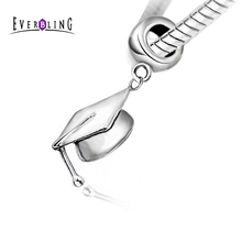 Graduation Cap Dangle 100% 925 Sterling Silver Charm Bead Fit pandora European Charms Bracelet M(China)