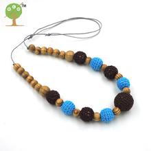 1pc sale mom Pine wooden beads with crochet beads and chocolate knit ball nursing necklace baby teether NWr1430