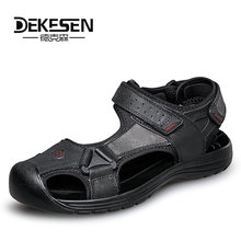 Buy DEKESEN 2018 Mens Sandals Genuine Leather Summer Shoes New Beach Men Casual Shoes Outdoor Sandals man Plus Size 38-46 for $34.50 in AliExpress store