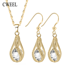 CWEEL Fashion Gold Color Jewelry Sets For Women Imitated Austrian Crystal Pendant Necklace Earring Bride Wedding Jewellery