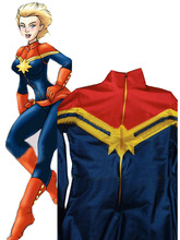 Custom Made Captain Marvel Cosplay Halloween Costumes for Women Spandex Bodysuit Female/Girls/Lady Ms Marvel Zentai Catsuit