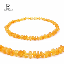 EAST WORLD Honey Raw Amber Necklace Jewel for Baby Teething Relief Custom Baltic Amber Unpolished Handmade Amber Beads Jewelry
