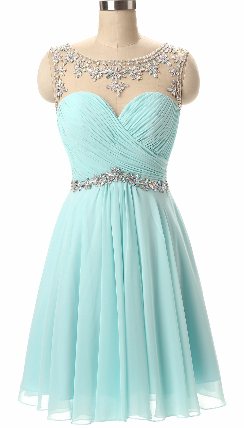 Chiffon Short Prom Party Dresses Girl's Homecoming Dresses with Beading