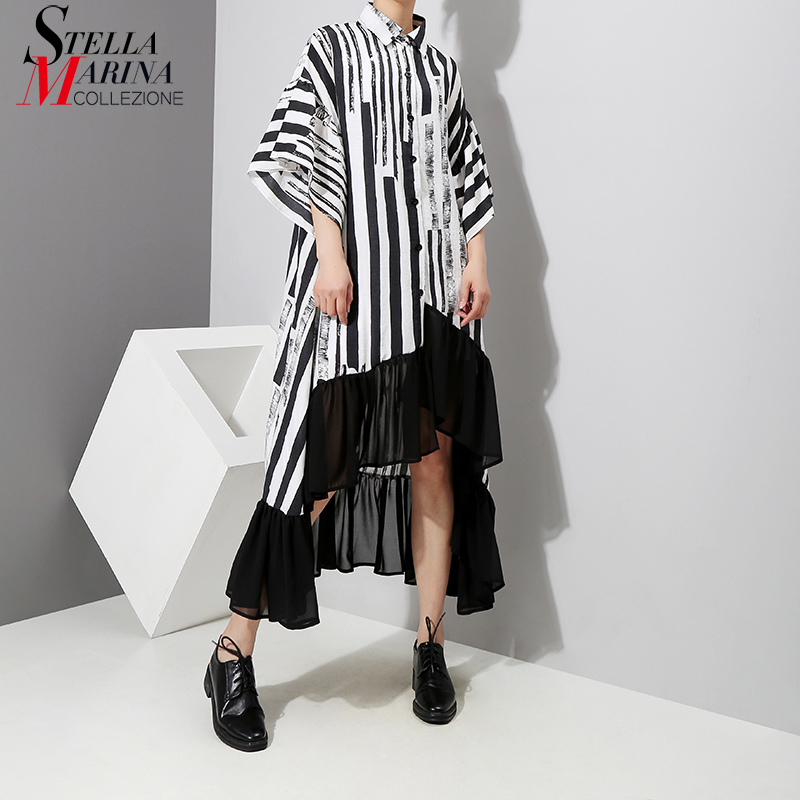 New 2019 Women Summer Asymmetrical Black Striped Shirt Dress Plus Size Ruffle Half Sleeve Night Party Club Dress Robe Femme 3518 Платье