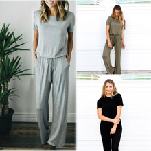 Sexy short Sleeve jumpsuit women long romper autumn bodysuit women lady trousers beach jumpsuit coveralls overalls female frock