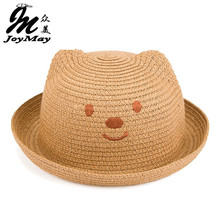 2016 Fashion Straw Hats Summer Baby Ear Decoration Lovely Child Character Girls And Boys Sun Hat Solid Children Floppy C017(China)