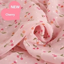 Width 150 cm Cherry  print chiffon fabric for garment dress clothing making and DIY craft chiffon fabric