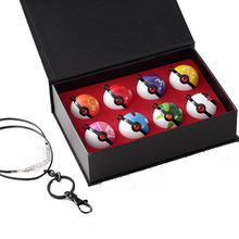 8Pcs/set Poke Ball Anime Action Figures Toys Super Master PokeBall keychain pendant Juguetes with exquisite gift box