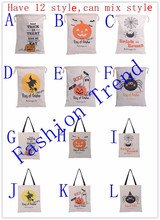 20pcs free shipping new style Halloween bag spider pumpkin Treat or Trick monogrammed drawstring halloween kids gift candy bag