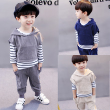 Boys Autumn Outfit 2017 New Children's Wear Baby Clothing Long Sleeved 3 Pieces Set(China)