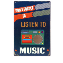 20x30CM Listen To Music HD Vintage Metal Tin Signs Creative Gift Home Decor Art Posters Bar Metal Painting Decor Wholesale N016(China)
