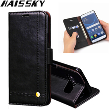 Haissky Luxury Vintage Flip Leather Phone Case For Samsung Galaxy J3 J7 J5 2017 S8 S8 Plus S7 S7 edge Note 8 Case Cover Stands